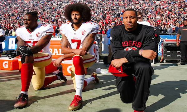 Colin Rand Kaepernick protesting  racial injustice