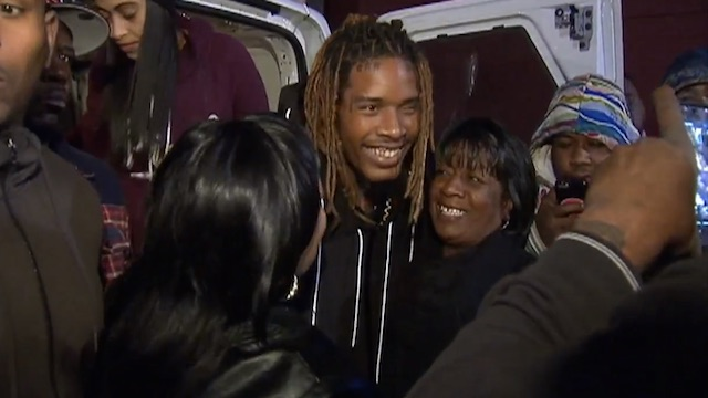 Willie Maxwell Fetty Wap hugs neighbors after distributing Thanksgiving turkeys in Patterson