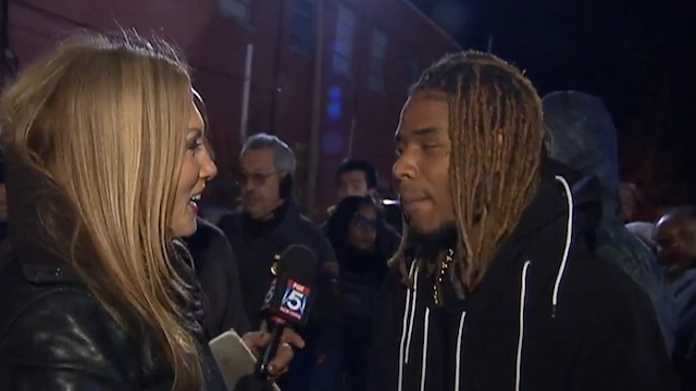Willie Maxwell Fetty Wap talks to media  after distributing Thanksgiving turkeys in Patterson