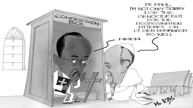 Pope Francis' and General Paul Kagame's cartoon in Ugandan New Vision, Dec 20, 2016